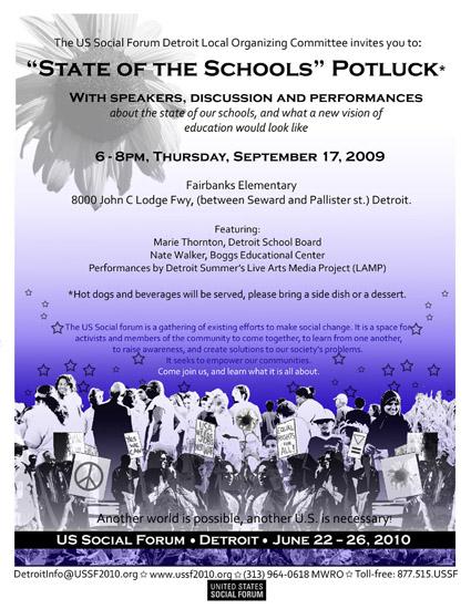 USSF schools potluck flyer