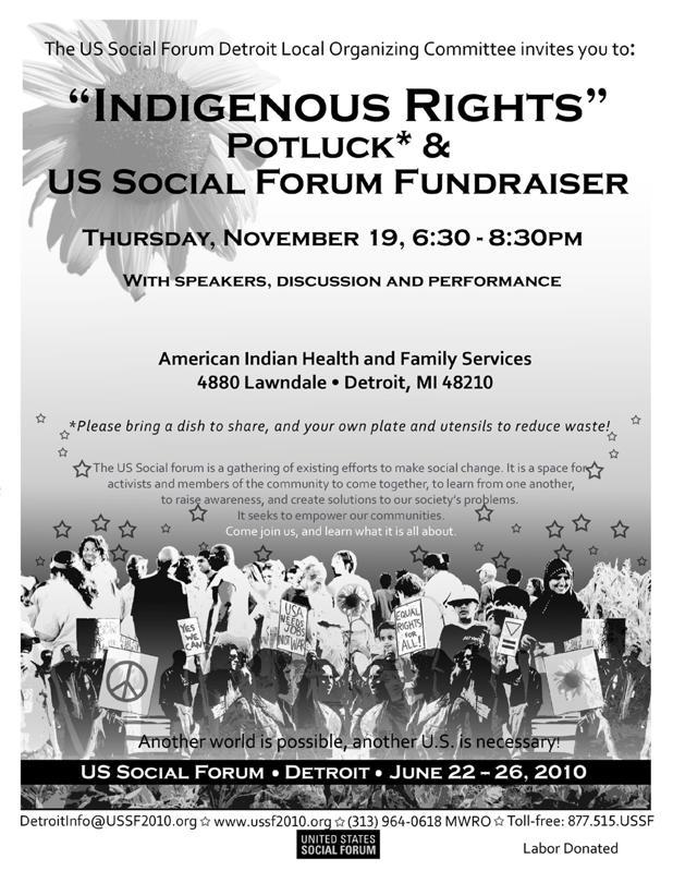 Indigenous potluck flyer